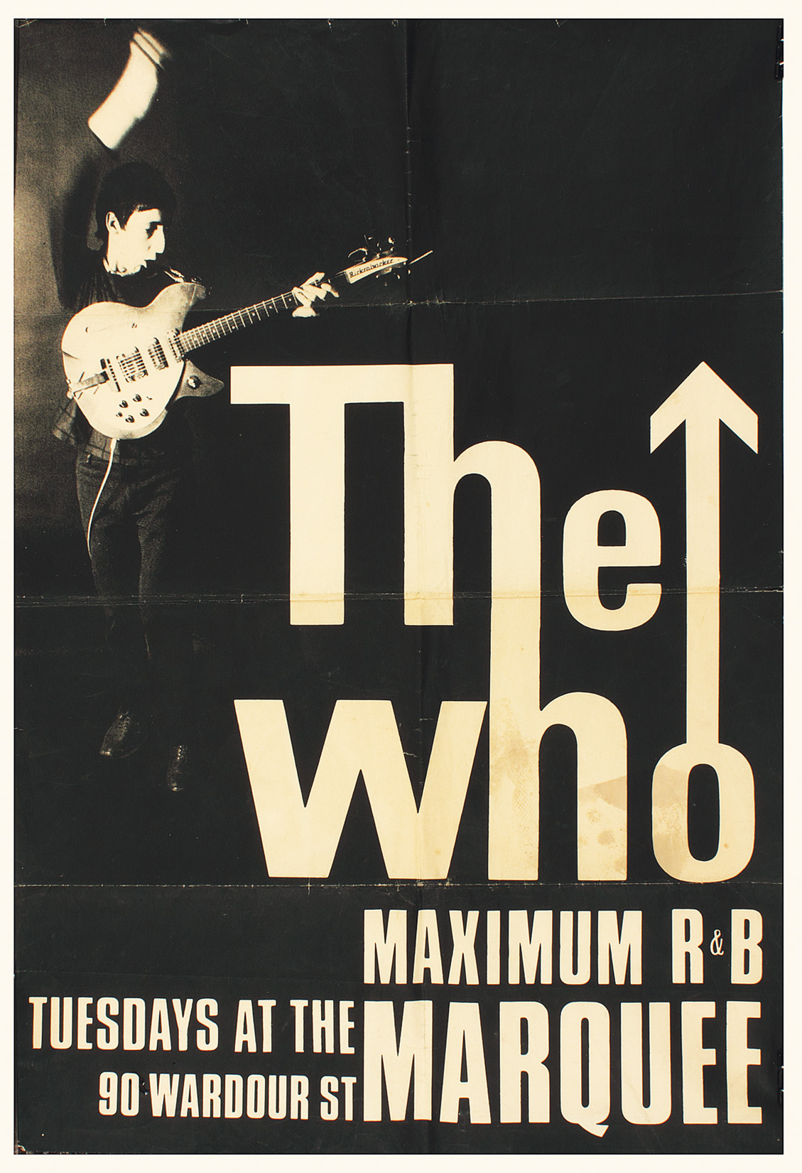 lot detail the who original marquee concert poster hung at club. Black Bedroom Furniture Sets. Home Design Ideas