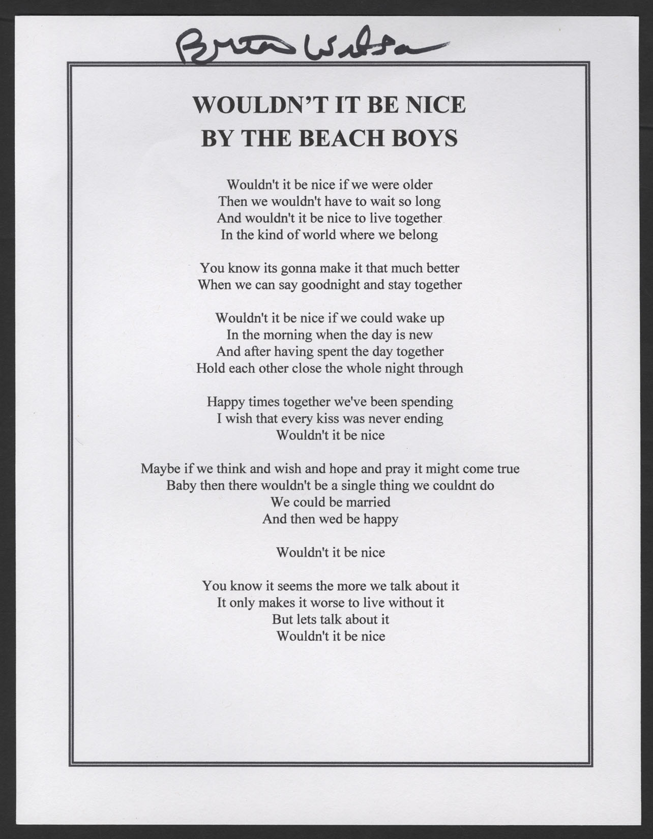 Brian Wilson Signed Beach Boys Wouldnt It Be Nice Lyric Sheet Hover To Zoom