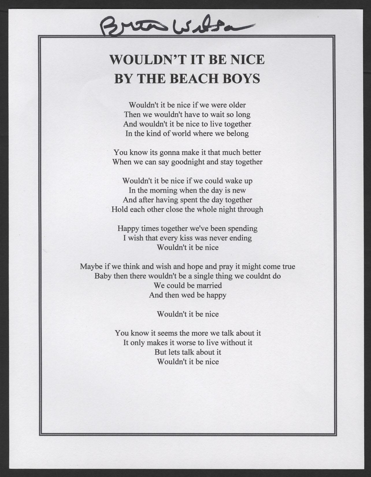 The beach boys wouldnt it be nice lyrics