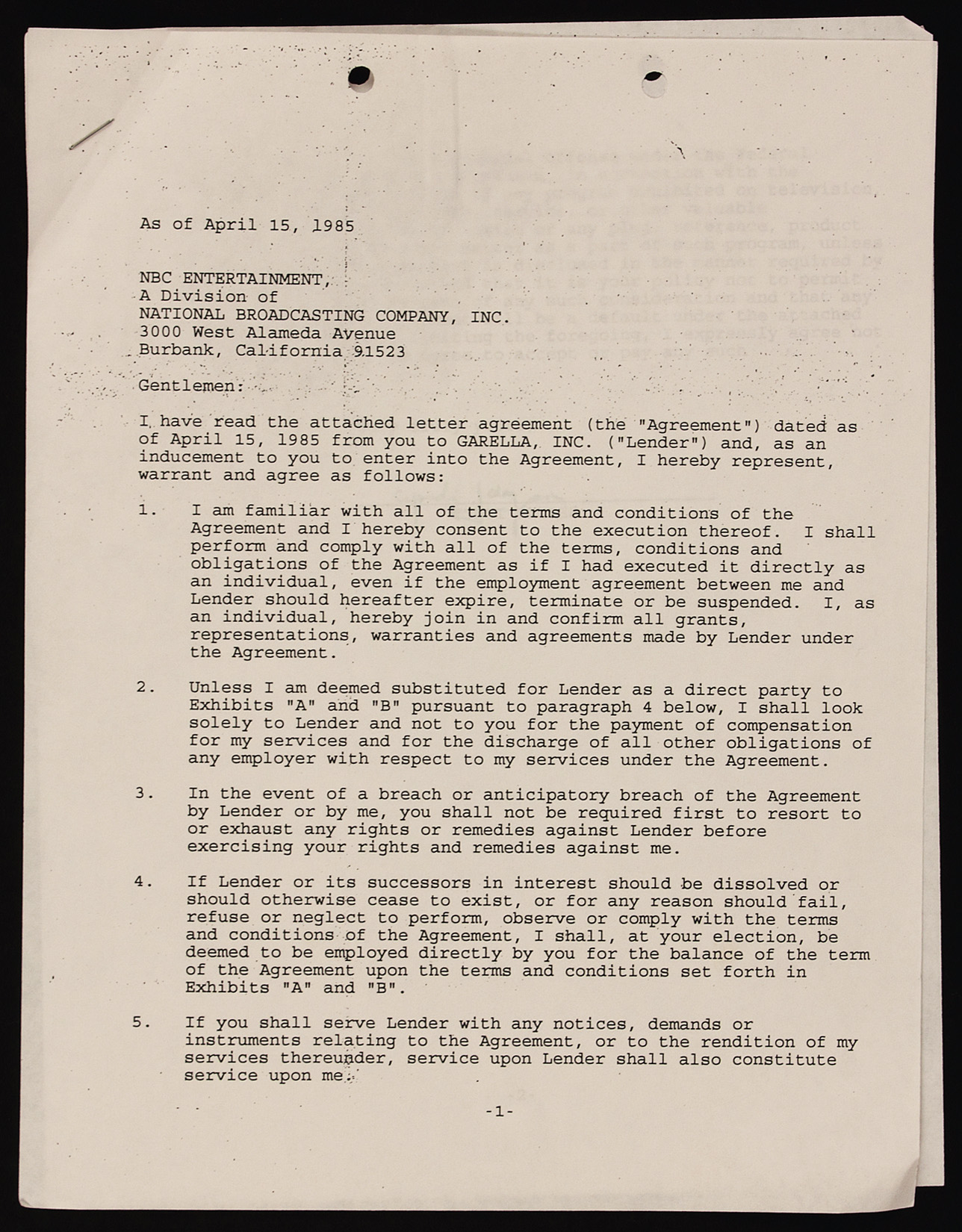 Lot Detail - Cyndi Lauper Signed Original Contract for