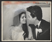 Elvis and Priscilla Presley Original Wire Stamped Wedding Photograph