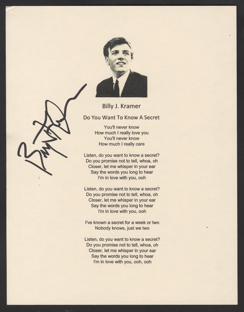 Lyric let it be the beatles lyrics : Lot Detail - Billy J. Kramer Signed Beatles