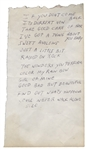 Elvis Presley Handwritten Song List for an RCA Recording Session
