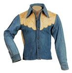 Elvis Presley Owned & Worn Denim Jacket With Hand Painted Native American Design