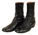 Elvis Presley Owned, Film and Personally Worn, Signed and Inscribed Black Leather Verde Boots Gifted To Gary Pepper
