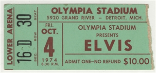 Elvis Presley Original 1974 Concert Ticket