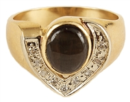 Elvis Presley Owned & Worn Diamond & Black Sapphire 14k Gold Ring