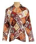 Elvis Presley Owned & Worn Geometric Paisley Print Long Sleeved Shirt