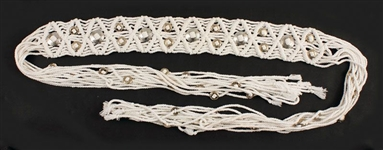 Elvis Presley Owned and Worn White Macramé Belt With Silver Conchos
