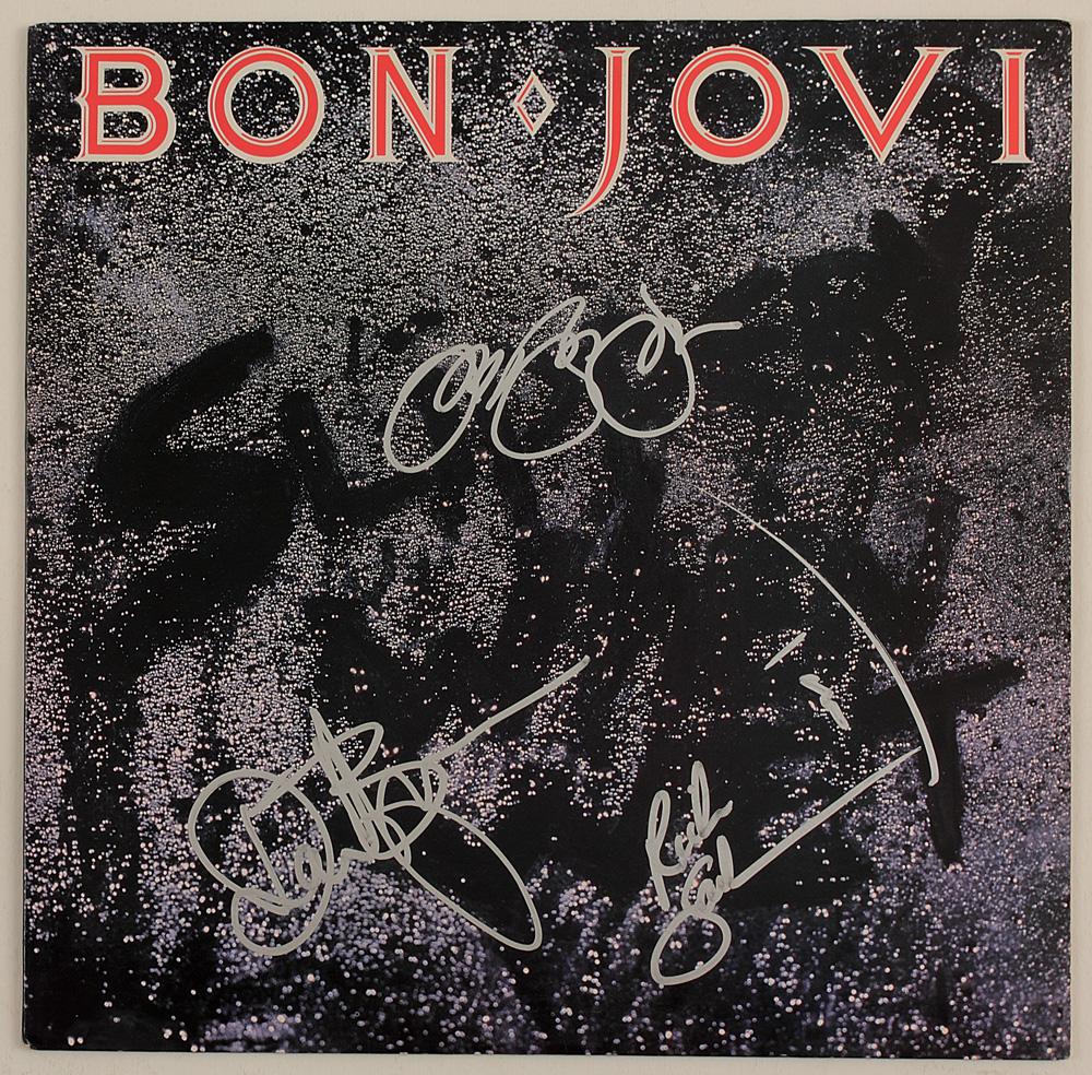 """Lot Detail - Bon Jovi Signed """"Slippery When Wet"""" Album Cover"""
