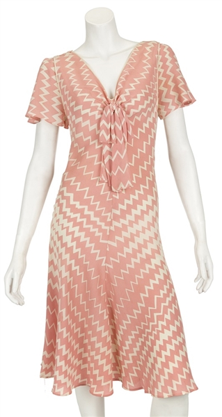 "Madonna ""Evita"" Production Worn Pink & White Zig Zag Striped Dress From ""Buenos Aires/Star Quality"" Rehearsal"