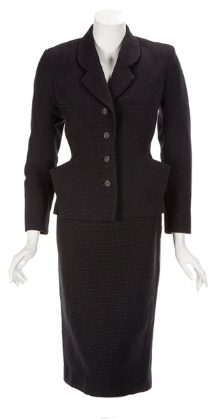 "Madonna ""Evita"" Film Worn Black Faille Skirt Suit From Musical Number ""And the Money Kept Rolling In"""