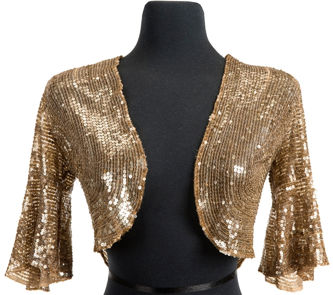Madonna Re-Invention Tour Poster and Advertisement Worn Vintage Gold Sequin Bolero Jacket Also Worn for Tour Program Photo Shoot
