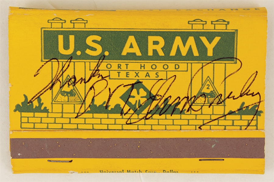 Elvis Presley Signed & Inscribed Original U.S. Army Matchbook and Vintage Pin