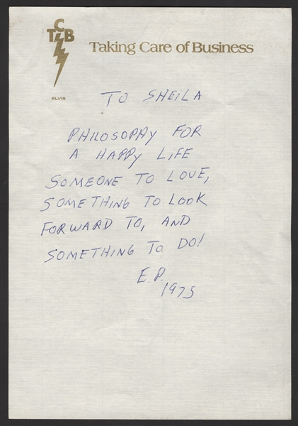 Elvis Presley Handwritten & Initialed Philosophy for a Happy Life Note to His Girlfriend Sheila Ryan On His TCB Letterhead