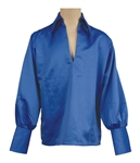 Elvis Presley Owned  & Worn IC Costume Company Royal Blue Bell-Sleeved Shirt
