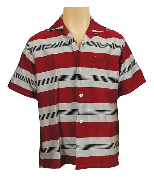 Elvis Presley Jailhouse Rock Film Production Used Red, Grey and Black Striped Shirt