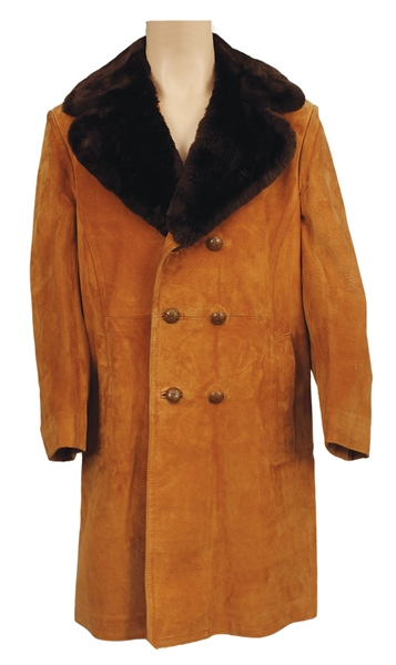 Elvis Presley Owned & Worn Custom Made Tan Suede Trench Coat With Faux Fur Collar Coat