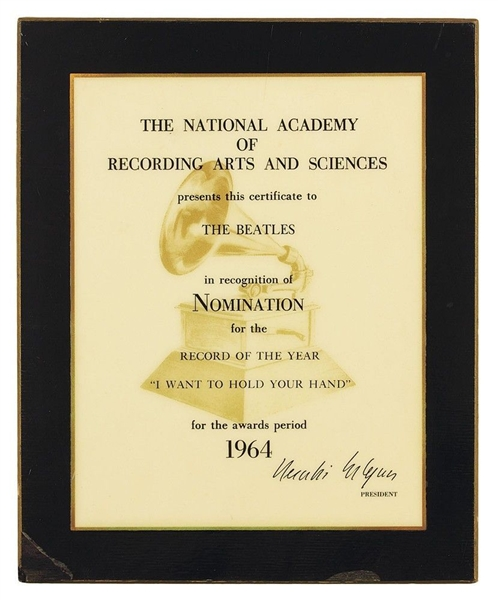 "The Beatles ""I Want to Hold Your Hand"" Grammy Nomination Plaque"