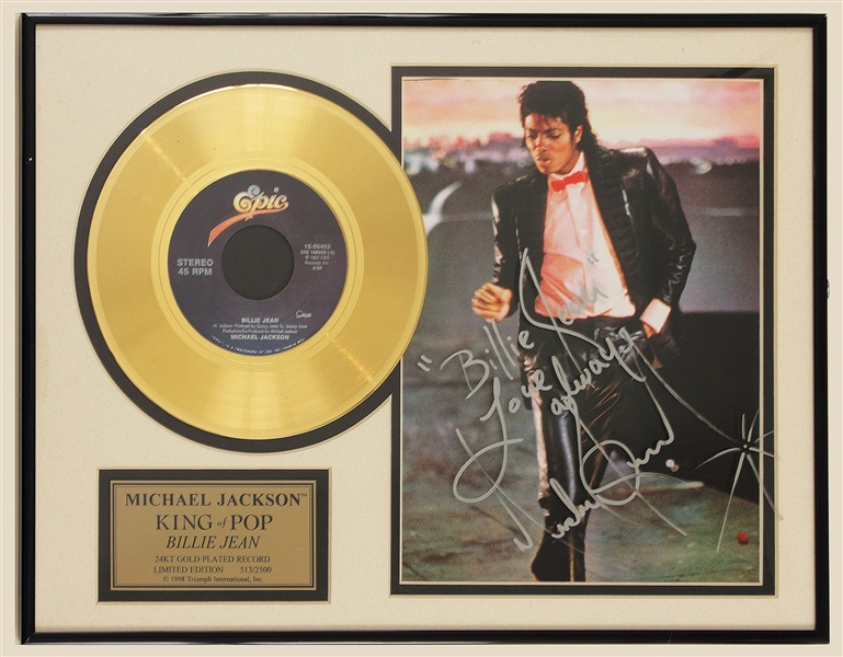 Michael Jackson Billie Jean Signed and Lyrics Inscribed Gold Record Award