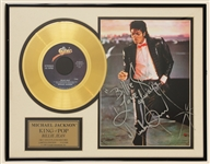 "Michael Jackson ""Billie Jean"" Signed and Lyrics Inscribed Gold Record Award"