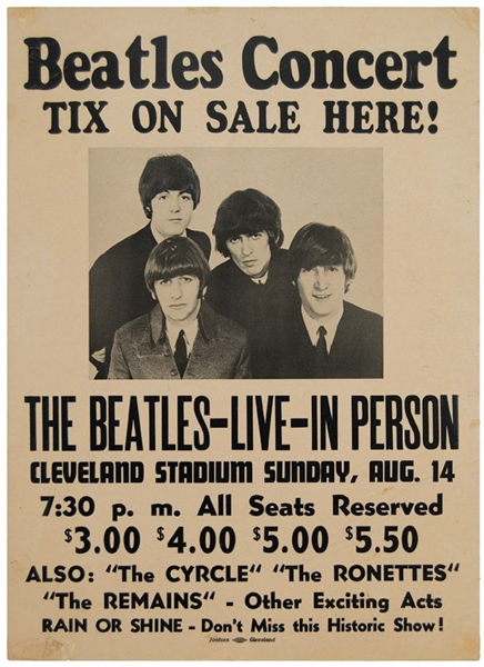 The Beatles Original 1966 Cleveland Stadium Cardboard Concert Poster
