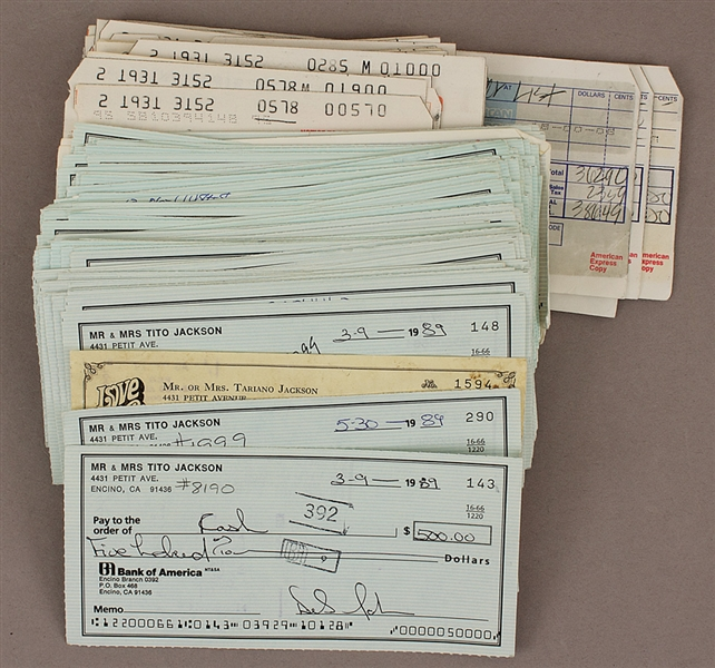 Tito and Dee Dee Jackson Signed Original Check Collection with Photos