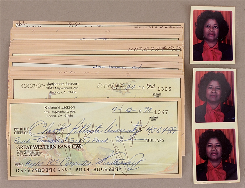 Joe and Katherine Jackson Signed Check Collection and Original Passport Photos