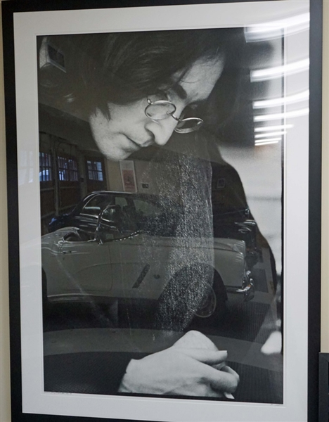 """John Lennon Listening to the White Album"" Original Limited Edition Ethan Russell Signed and Numbered Over-Sized Photograph"