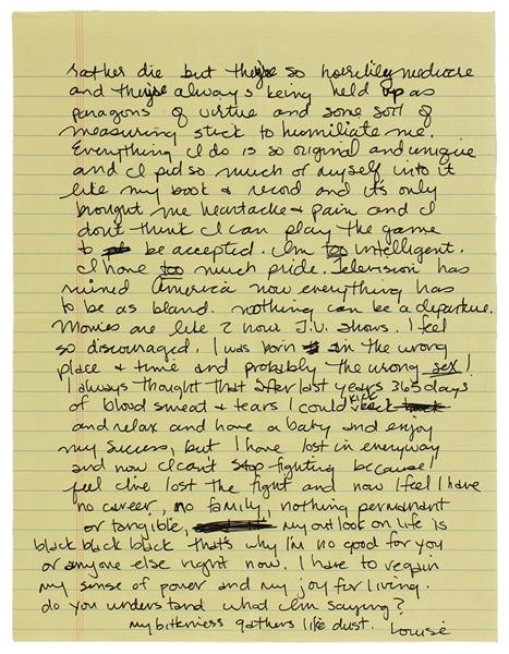 Madonna Handwritten Love Letter To John Enos