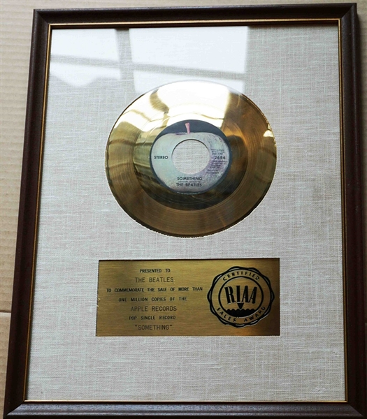 "The Beatles ""Something"" Original RIAA White Matte Gold 45 Record Award Presented to The Beatles"