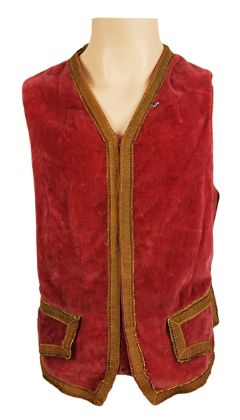 Jimi Hendrix Owned and Worn Red Velvet Vest from the Herbert Worthington Estate