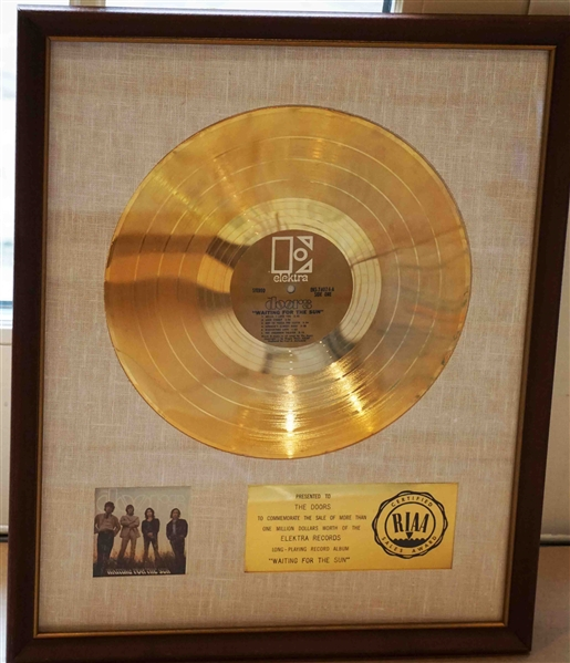 The Doors Waiting for the Sun Original RIAA White Matte  Gold Album Award Presented to The Doors