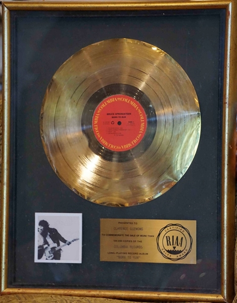 "Bruce Springsteen ""Born To Run"" Original RIAA Gold Album Award Presented to Clarence (Big Man) Clemons"
