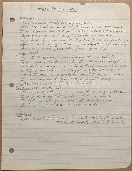 Southside Johnny Original Take It Inside Handwritten  Lyrics from Southside Johnny and the Asbury Jukes First Album
