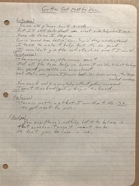 "Southside Johnny Handwritten Lyric ""Gotta Get Next To You"" From the Album ""Hearts Of Stone"""