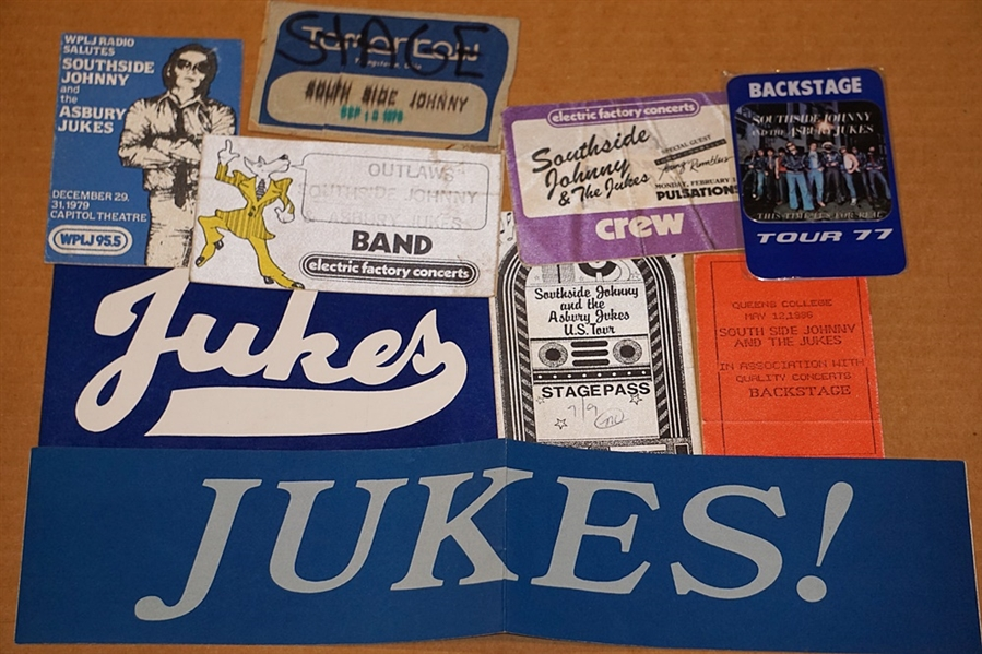 Southside Johnny and the Asbury Jukes Personally Used Concert Pass Archive Including a Laminate, All-Access Passes and Various Backstage Sticker Passes