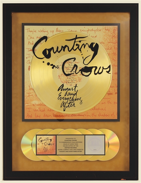 "Counting Crows ""August and Everything After"" Original RIAA Gold Album, CD and Cassette Award"