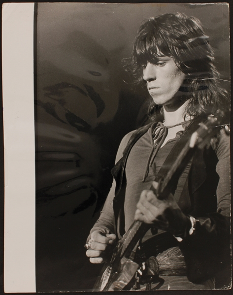 Rolling Stones Keith Richards Original Wire Stamped Photograph