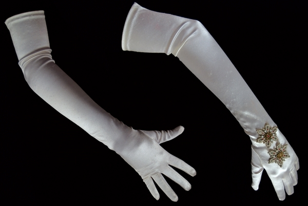 Marilyn Monroe Owned and Worn White Satin Beaded Opera Gloves