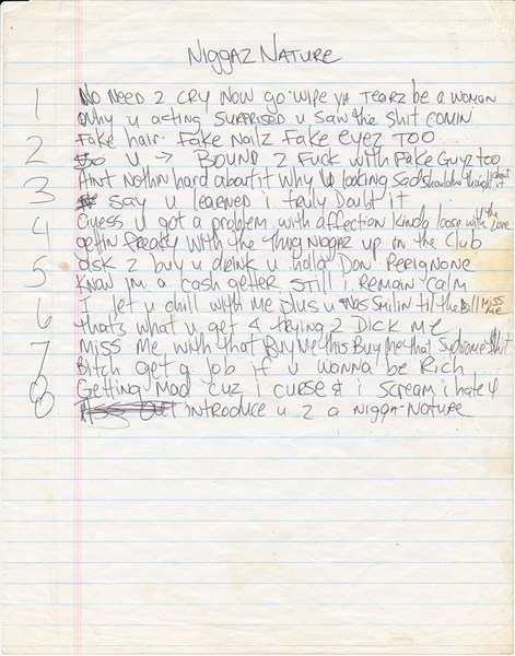 Tupac Shakur Handwritten Niggaz Nature Lyrics