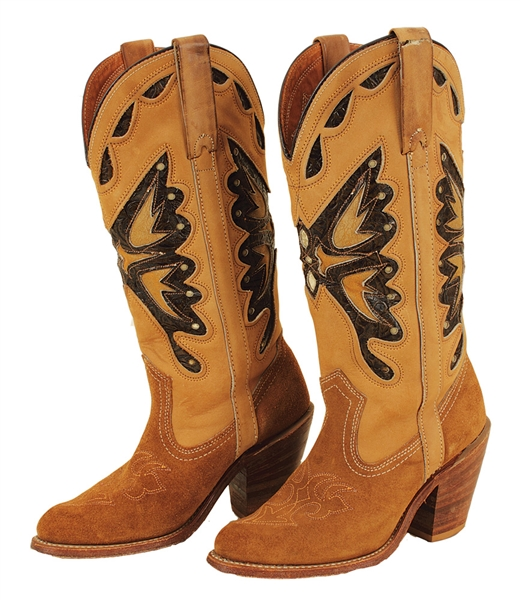 "Britney Spears ""Britney"" Album Release Worn Suede Butterfly Cowboy Boots"