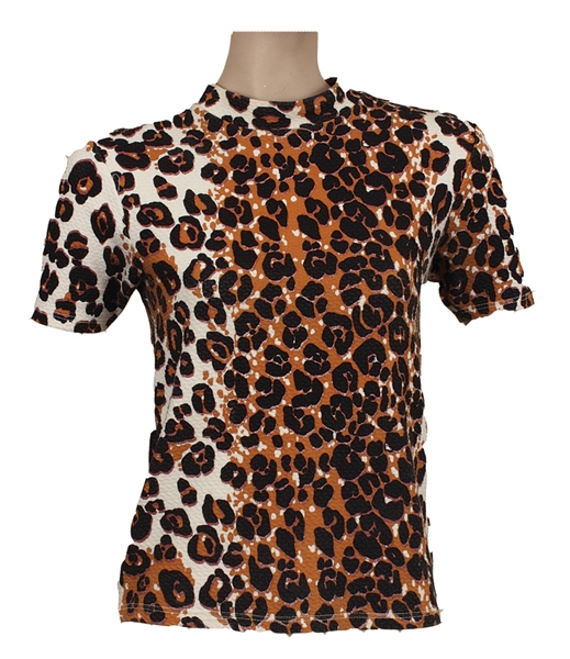 Beyoncé Worn Topshop Leopard Print High Neck Top