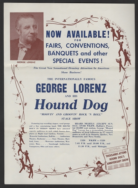 Hound Dog Movin and Groovin' Rock N' Roll Stage Show Original Handbill
