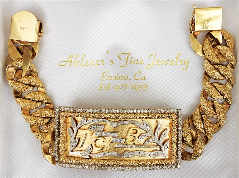 Charlie Hodge Owned & Worn Custom Made TCB Diamond & 14K Gold Bracelet