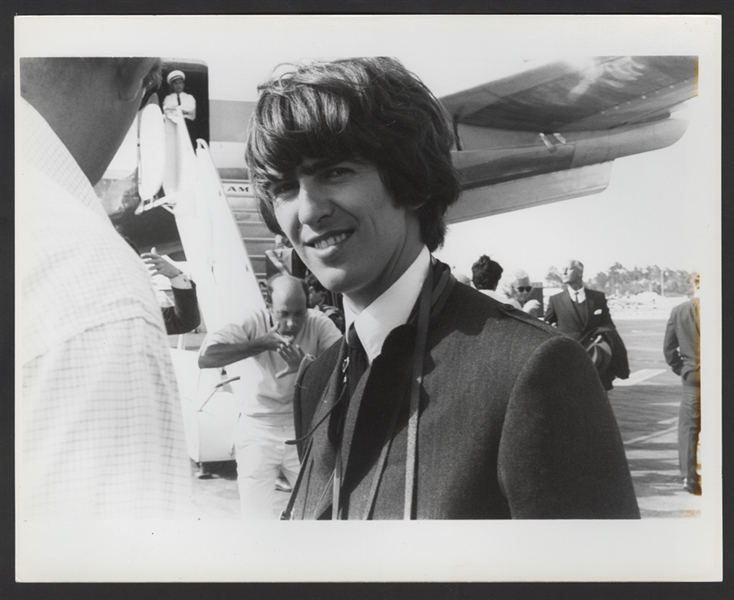 Beatles George Harrison Original Wire Stamped Gloria Stavers Photograph