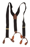 Michael Jackson Owned & Worn Black Suspenders With Brown Leather