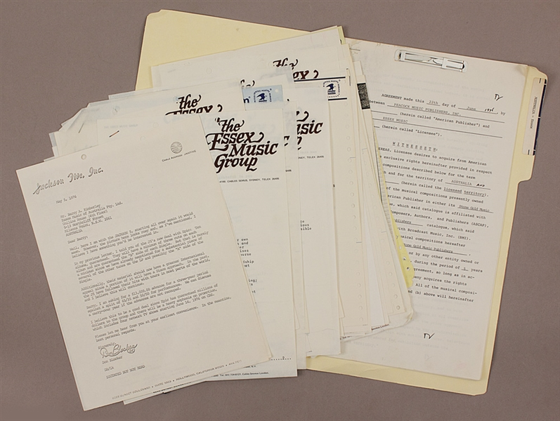 Jackson 5 Original Essex Music Group Correspondence Regarding Publishing of Their Music In Australia With Original Contract