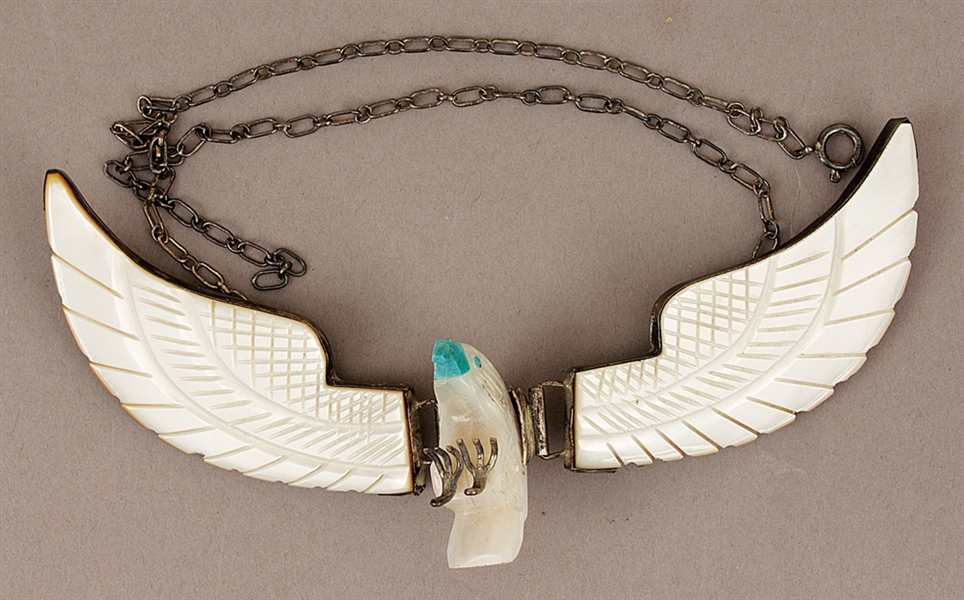 Sly Stone Owned and Worn Custom Made Sterling Silver Ivory Eagle Necklace