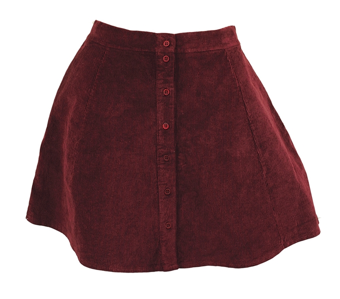 Taylor Swift Owned & Worn Dark Red/Wine Corduroy Mini Skirt